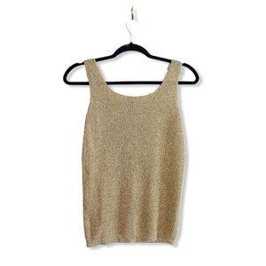 SUZELLE vintage gold knit tank top